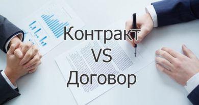 В чем разница между контрактом и договором